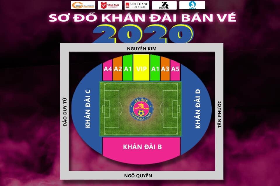 サイゴンFC、トンニャットスタジアムの2020年座席表