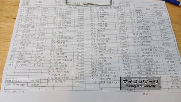 カジュアル台湾料理レストラン『瓦城-Va Thanh-』のオーダー表
